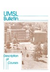 UMSL Bulletin 1985-1986 Description of Courses